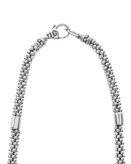 "LAGOS High Bar Caviar Necklace w/ 18k Gold, 16""L"