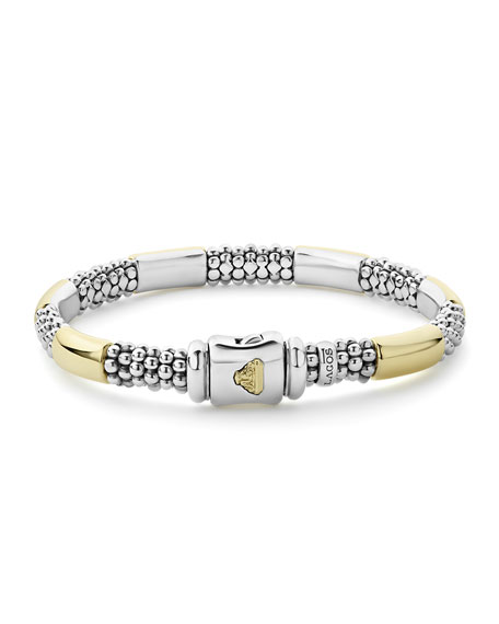 "LAGOS High Bar 6-Station Bracelet w/ 18k Gold, 7.5-8""L"