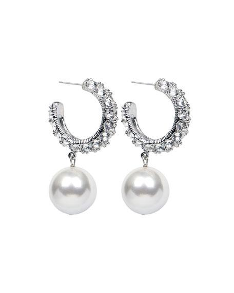 Ben-Amun Bubble Pearl-Drop Hoop Earrings