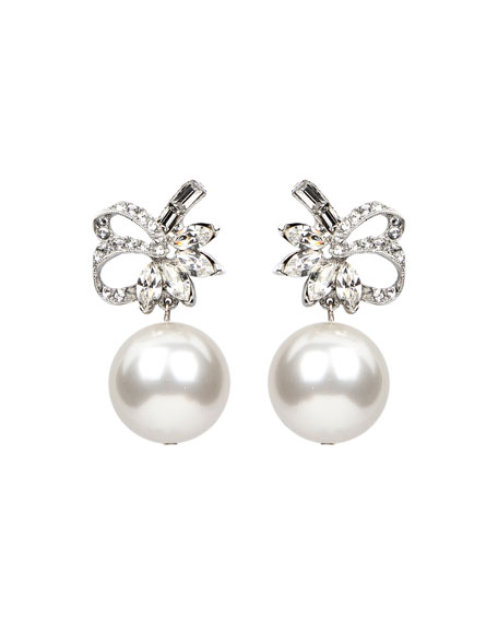 Ben-Amun Bubble Pearl Ribbon Clip Earrings