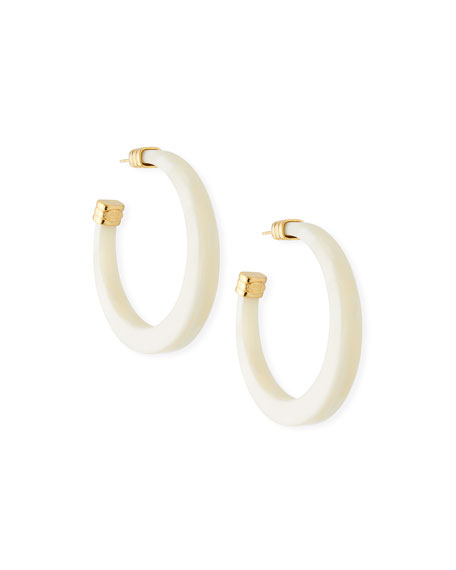 Gas Bijoux Caftan Acetate Hoop Earrings, White