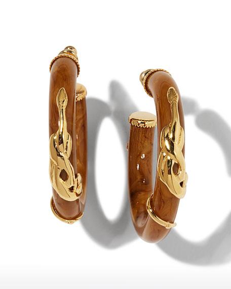 Gas Bijoux Cobra Acetate Hoop Earrings, Coral