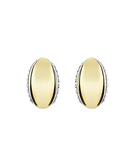 LAGOS High Bar Domed Huggie Earrings w/ 18k Gold