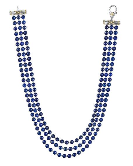 LAGOS Caviar Icon 3-Strand Necklace, Lapis/Pearl