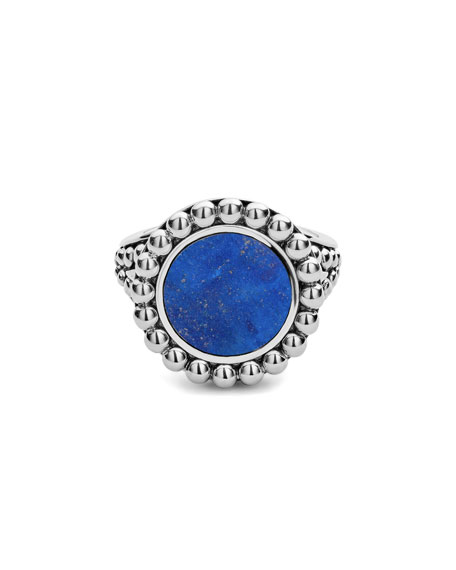 LAGOS Maya 13mm Round Inlay Ring, Lapis