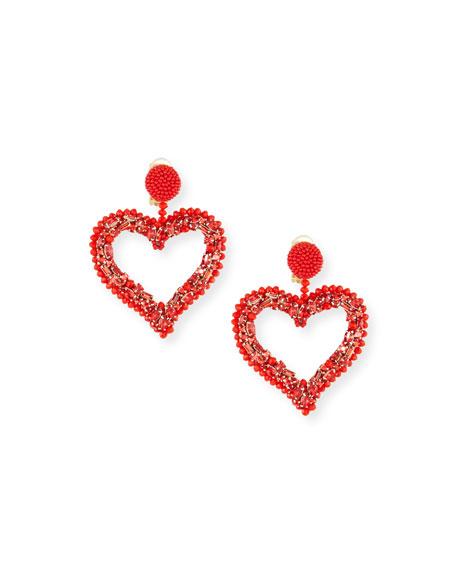 Oscar de la Renta Beaded Heart Clip-On Earrings