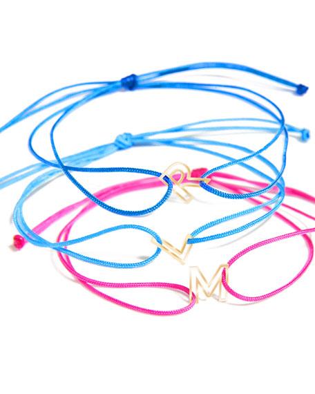 K Kane Chain Letter Neon Bracelet, Hot Pink