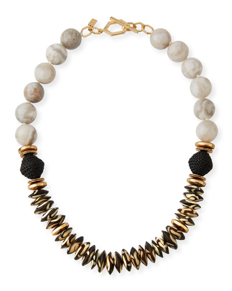 Akola Agate, Bone & Leather Necklace, White/Black