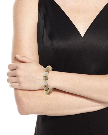 Akola Moonstone & Leather Stretch Bracelet, White