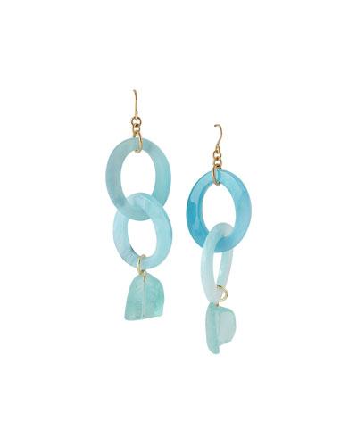 Raw Quartz Dangle Earrings  Blue
