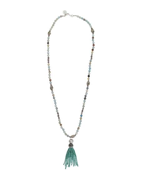 Devon Leigh Amazonite & Labradorite Tassel Necklace