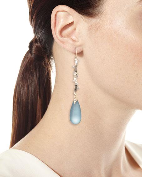 Crystal Baguette Linear Drop Earrings, Blue