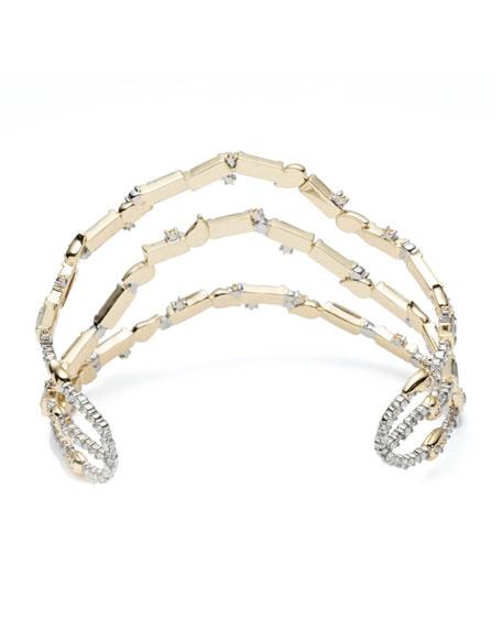 Alexis Bittar Crystal Baguette Sculptural  Cuff Bracelet