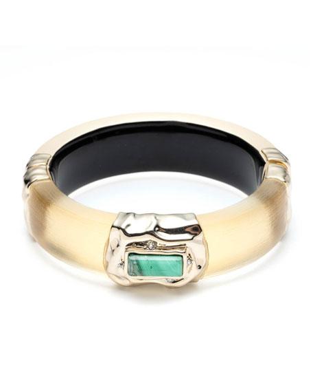 Alexis Bittar Stone Studded Crumpled Hinge Bracelet, Gold