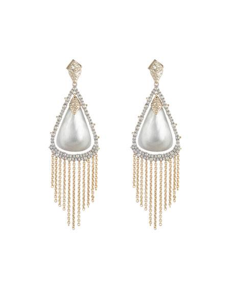 Alexis Bittar Crystal Capped Tassel Chain Earrings