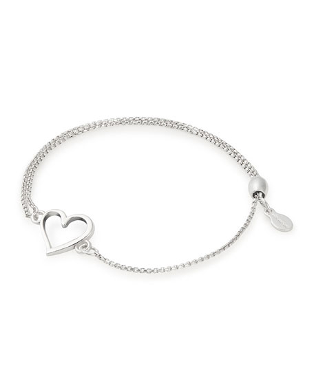 Alex and Ani Heart Pull-Chain Bracelet, Silver