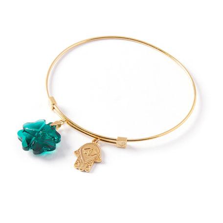 Alex and Ani Clover & Hamsa Charm Bracelet, Gold
