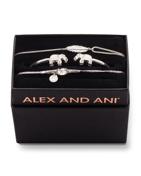 Alex and Ani Elephant Cuff Bracelet Gift Set, Silver