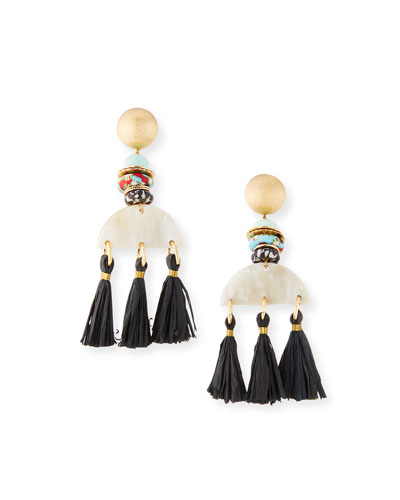Horn & Tassel Drop Earrings  White