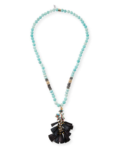 Long Amazonite Tassel Pendant Necklace