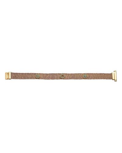 18k Pink Gold Looking Glass Woven Bracelet  1cm