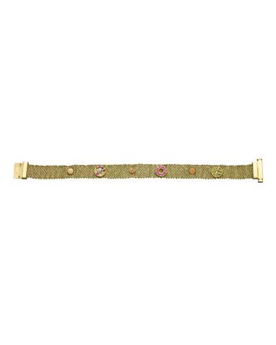 18k Studded Woven Bracelet  1cm