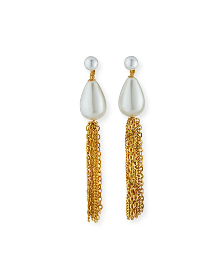 Kenneth Jay Lane Pearly Teardrop Tassel Clip Earrings