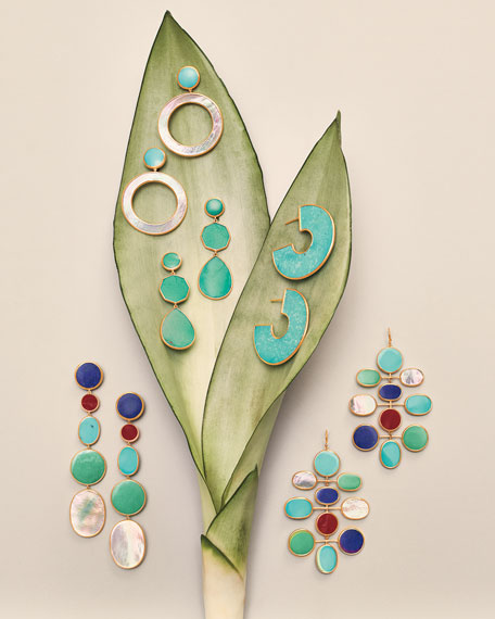 Ippolita 18K Polished Rock Candy Dot & Circle Earrings in Mother-of-Pearl & Turquoise