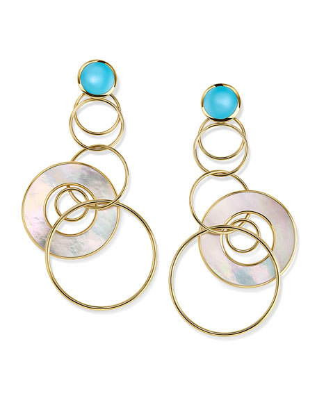 Ippolita 18K Polished Rock Candy Medium Jet Set Earrings in Turquoise & Mother-of-Pearl