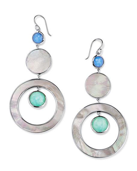 Ippolita Wonderland Stone & Shell 3-Tier Circle Earrings in Brazilian Blue