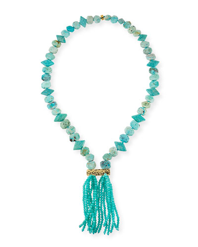 Long Amazonite Tassel Necklace