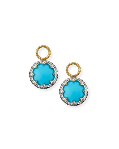 Provence 18k Round Earring Charms w/ Pave  Turquoise