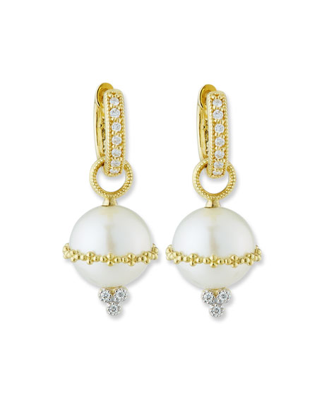 Jude Frances Provence 18k Wrapped Pearl Beaded Earring Charms w/ Diamonds