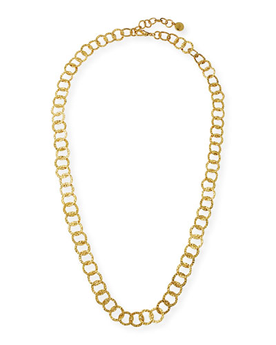 Long Hammered Circle-Chain Necklace