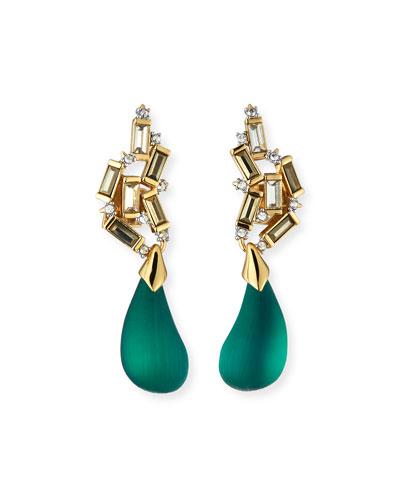Cluster Teardrop Earrings  Green