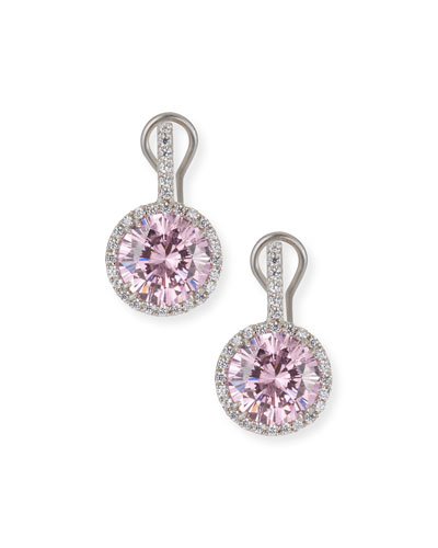 Round Cubic Zirconia & Halo Drop Earrings  Clear/Pink