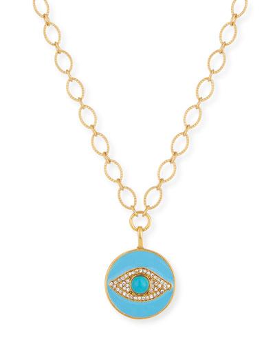 Evil Eye Talisman Necklace w/ Crystals
