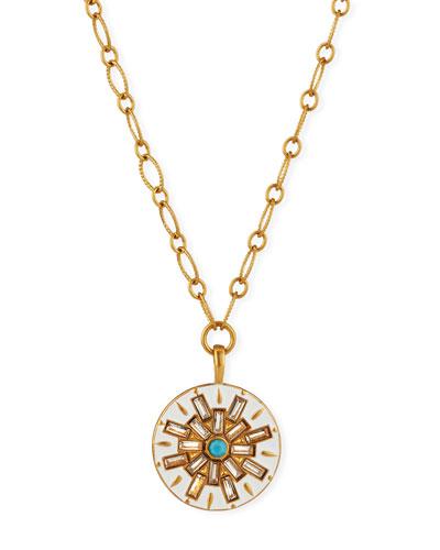 Compass Long Enamel Talisman Necklace