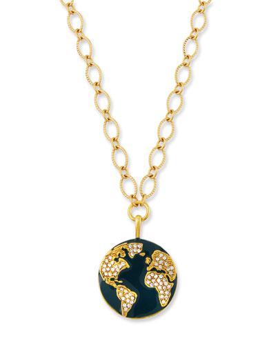 Globe Talisman Necklace w/ Crystals