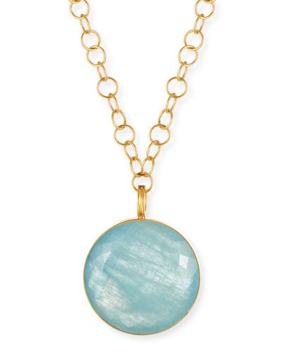 Round Aquamarine Pendant