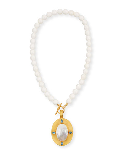 Mother-of-Pearl Pendant Necklace w/ Blue Topaz