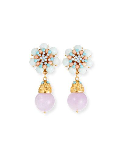 Multi-Pastel Drop Clip-On Earrings