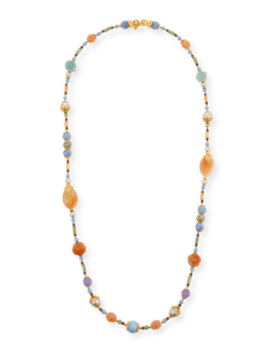 Long Semiprecious Beaded Necklace  Pastel