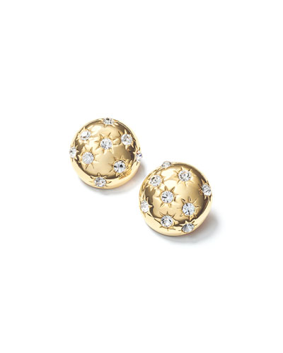 Starburst Deco Button Earrings