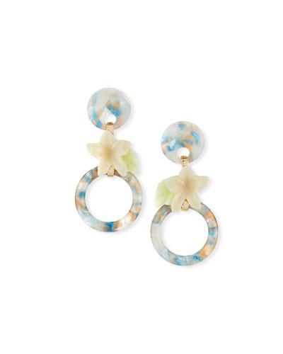 Small Hibiscus Hoop Drop Earrings