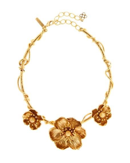 Oscar de la Renta Poppy Flower Necklace