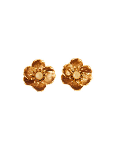 Poppy Flower Clip-On Earrings