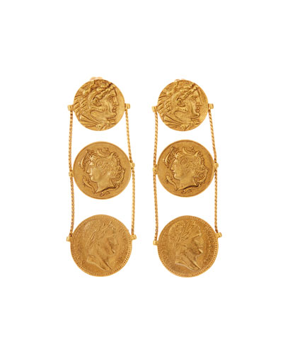 Triple-Coin Clip-On Earrings