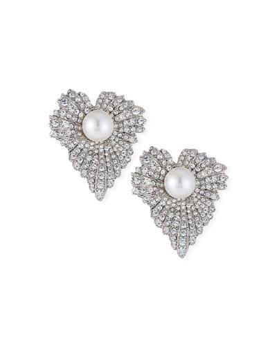Pearly Grape-Leaf Stud Earrings