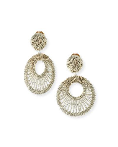 Beaded Hoop Clip Earrings  Silver